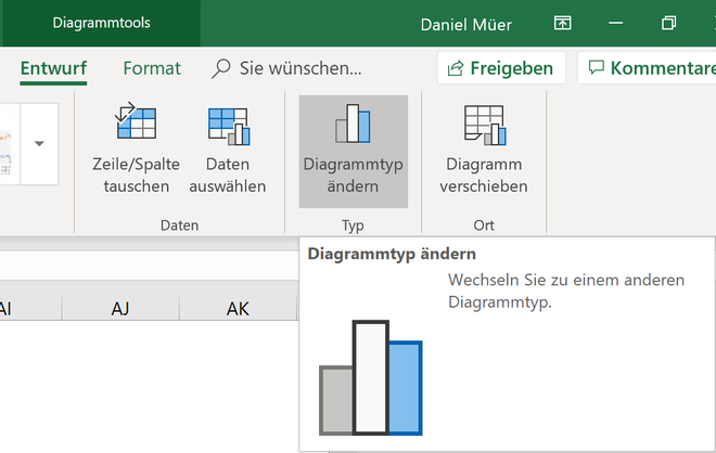 Excel Insights: Screenshot Dialog Diagrammtyp per Reiter Entwurf öffnen